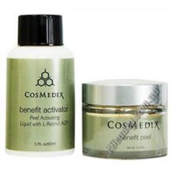 Универсальное средство для пилинга для всех типов кожи - Benefit peel + Benefit activator Cosmedix, 50 ml+30 ml